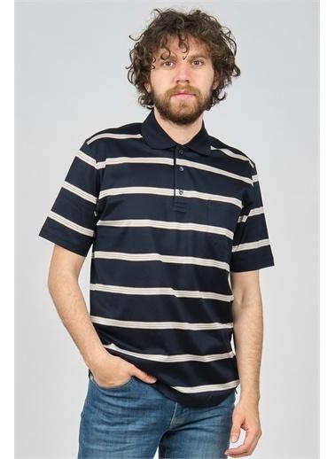 Arslanlı Arslanlı Erkek Cep Detaylı Çizgili Polo Yaka T-Shirt  Lacivert